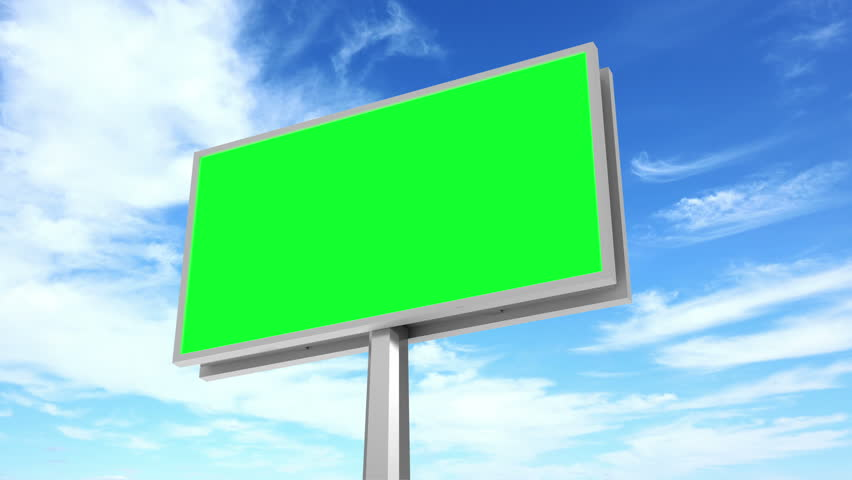 4K Timelapse Animation of Billboard with Green Screen over Clouds Background. 4K Ultra HD 3840x2160 Video Clip