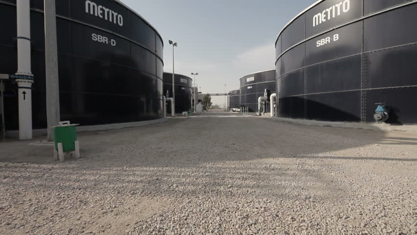 Qatar - 2011 - Shot of giant water tanks. - HD stock video clip