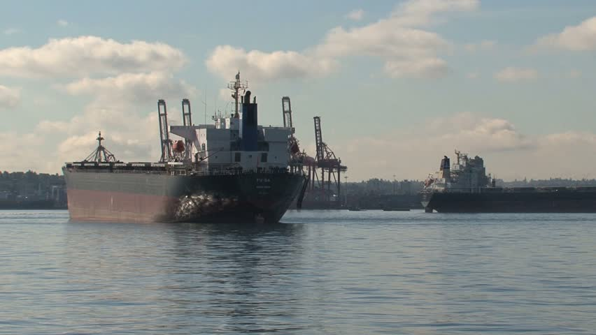 VANCOUVER, CANADA - CIRCA SEPTEMBER 2010: Ships in the harbor. - HD stock video clip