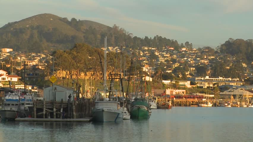 The small Central California town of Morro Bay with fishing boats in the harbor. - HD stock video clip