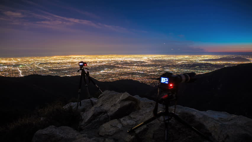 Wide City Skyline with Cameras and Photographers in Time-lapse  - HD stock footage clip