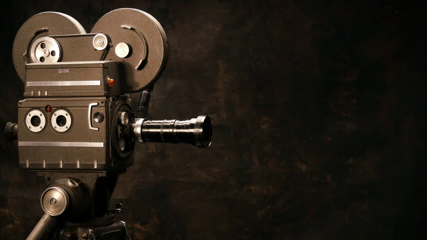 Vintage Hollywood Movie Camera in Front of Black Backdrop. Suitable for Tv Show, Film Title, or Credits. | Shutterstock HD Video #14759560