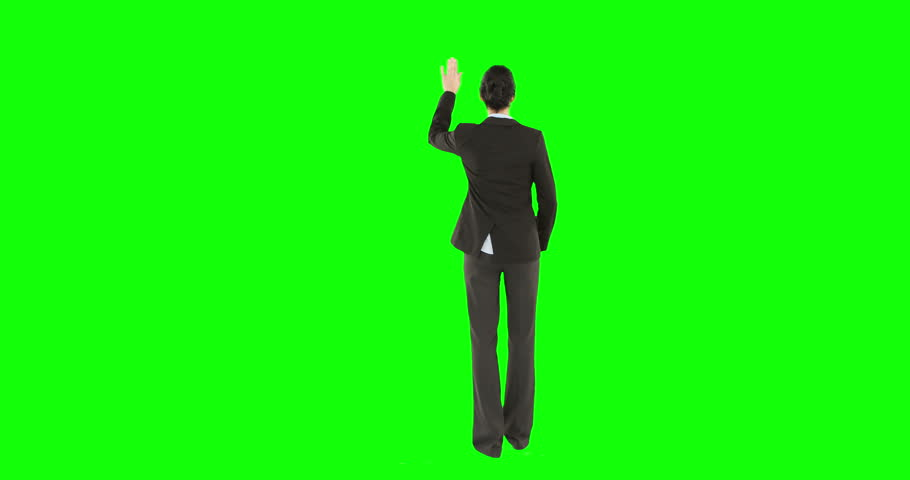 Digital animation of businesswoman on green screen - 4K stock footage clip
