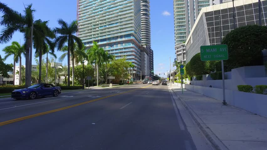 BRICKELL - FEBRUARY 15: Video of the Axis and Vue Condominiums which are luxury skyscrapers near Miami Ave and 13th Street February 15, 2016 in Brickell FL, USA