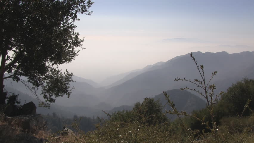Zooming shot atop Mount Wilson showing thick smog.