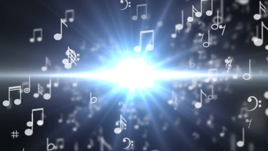 A set of musical notes going into the word MUSIC - HD stock video clip