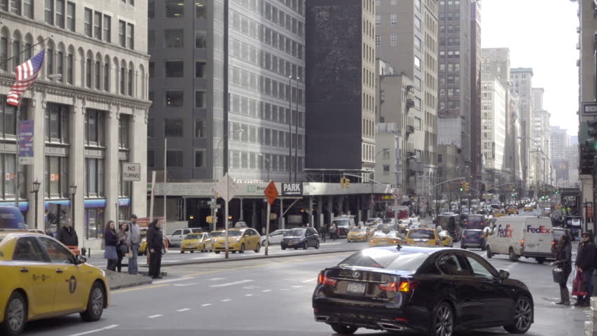 New york feb 29 2016 taxis and cars driving in traffic on park ave