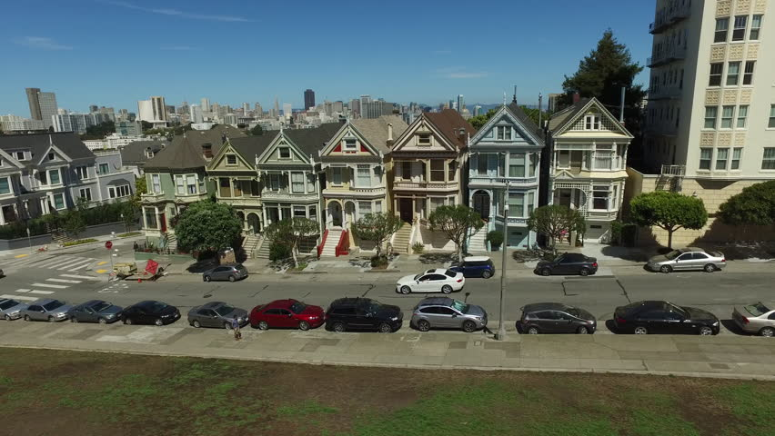 Painted Ladies famous Victorian row houses in San Fransisco, California, aerial shot