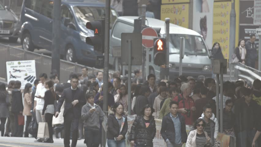 HONG KONG. CHINA - CIRCA JAN 2015: Heavy pedestrian traffic on a busy sidewalk in Hong Kong. China. FullHD video | Shutterstock HD Video #15047119