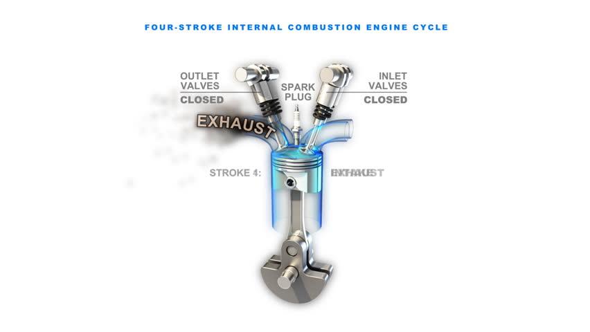 3d animated visualization of car engine piston work. Loop.