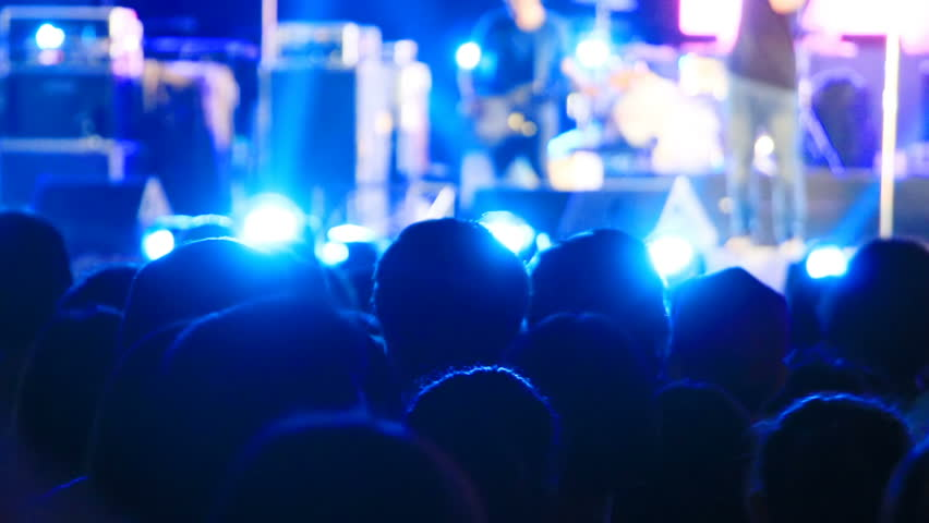 People raising hands at concert