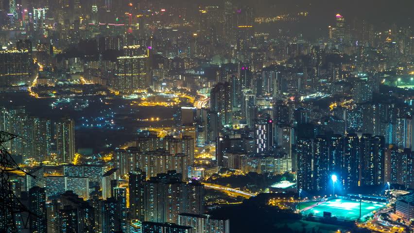 Fei ngo shan Kowloon Peak night timelapse Hong Kong cityscape skyline. | Shutterstock HD Video #15069727