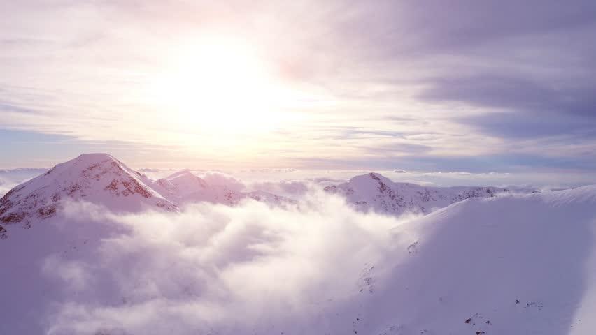 Beautiful Mountain Sunset Winter Mountain Landscape Inspiration Motivation Beauty Of Nature Travel Exploration Aerial Flight UHD 4K | Shutterstock HD Video #15072130