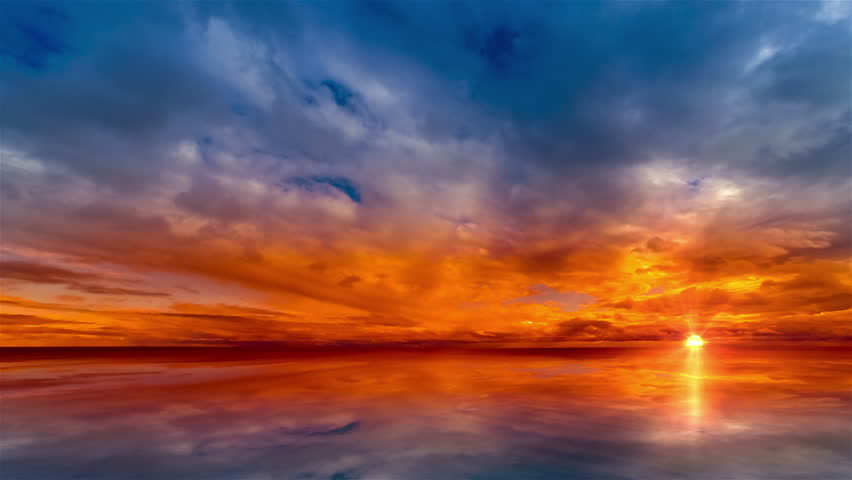 Beautiful cloudscape and sunset breaking through cloud over lake reflection. god rays, also called crepuscular rays, streaming through gaps in clouds. Time lapse 4K #15099391