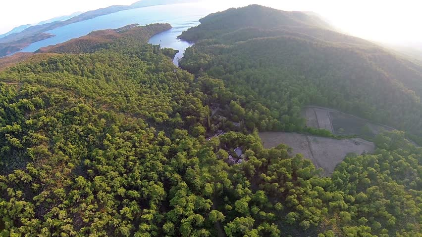 Marmaris pine forest, Amazon Bay and high mountains landscape. Aerial. Marmaris National Park is set over 29.206 hectares, is just 6 km from town and is a haven of flora and fauna