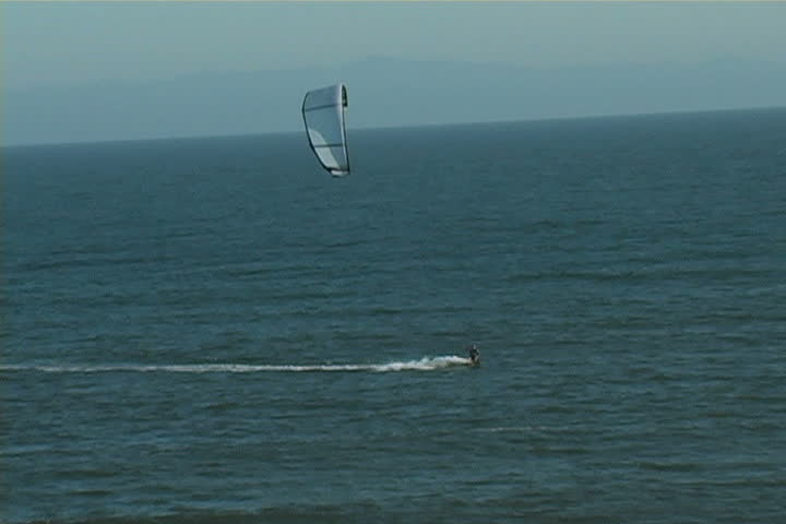 A man parasurfing in Santa Barbara. - SD stock footage clip