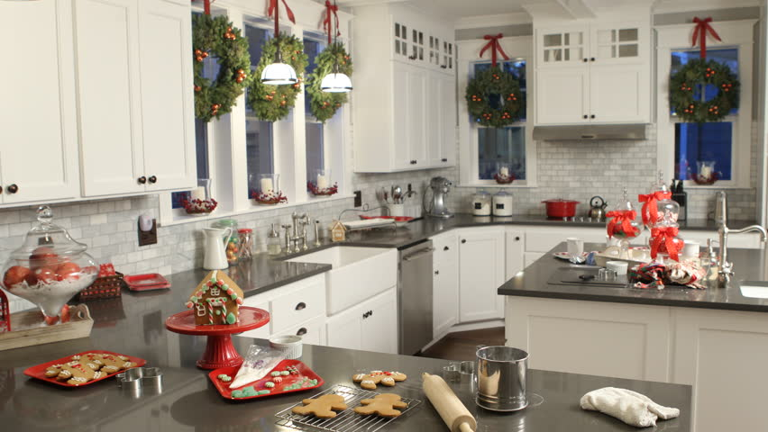 Interior shot of kitchen decorated for Christmas