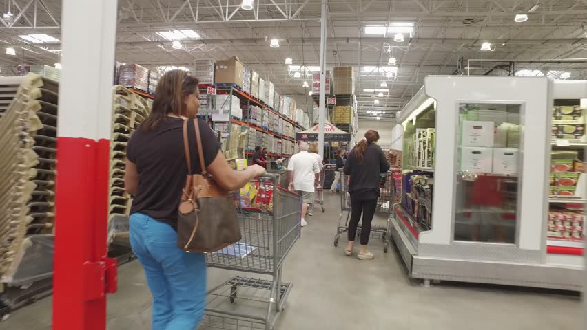 MIAMI - MARCH 5: Costco is an American member only warehouse founded in 1976 in California now with over 691 locations March 5, 2016 in Miami FL, USA - 4K stock video clip