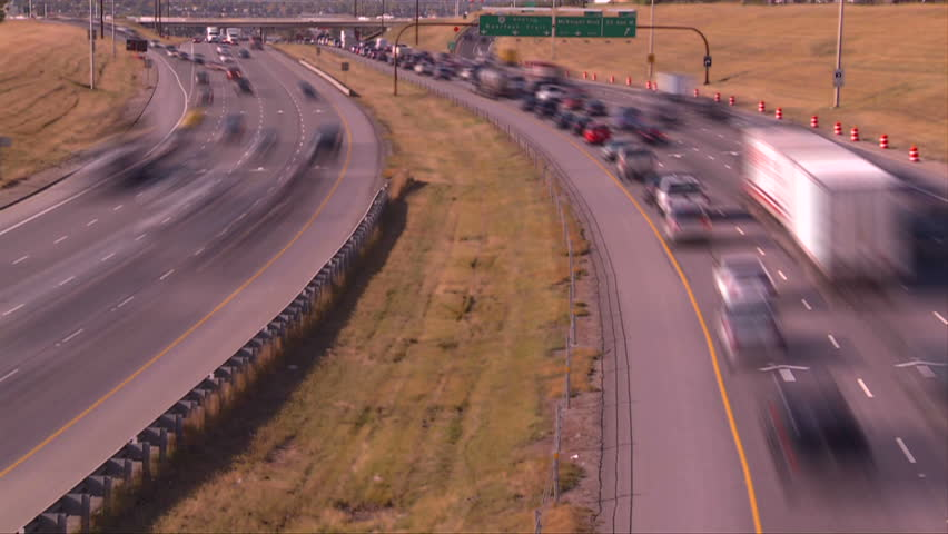 freeway traffic, time lapse - HD stock footage clip