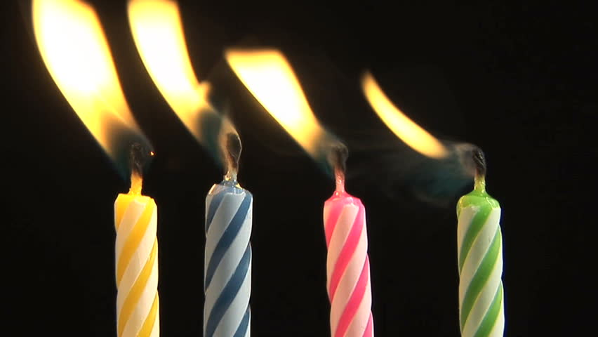 Time Lapse Birthday Candles Burning And Being Blown Out