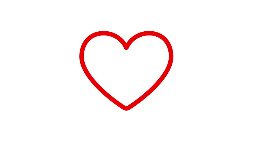 Line Drawing Heart Shape : Valentine heart drawn by red lines beat cartoon