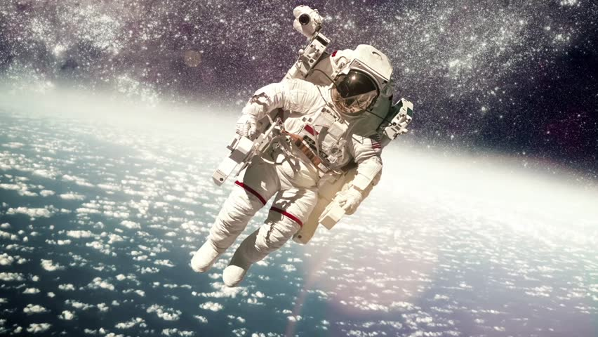 Astronaut in outer space against the backdrop of the for Outer space travel