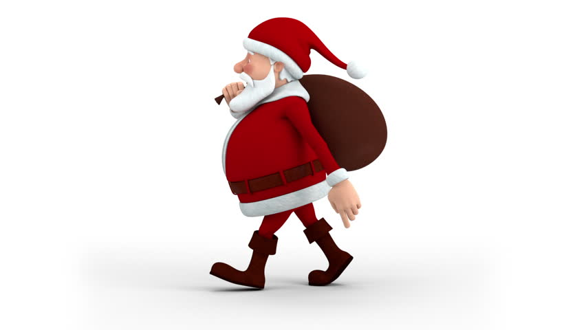 Cartoon Santa Claus with gift bag walking on the spot - left side view - high quality 3d animation