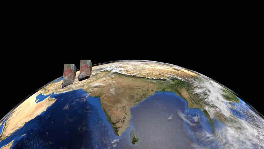 Rupees graph on globe showing Asia animation - HD stock footage clip