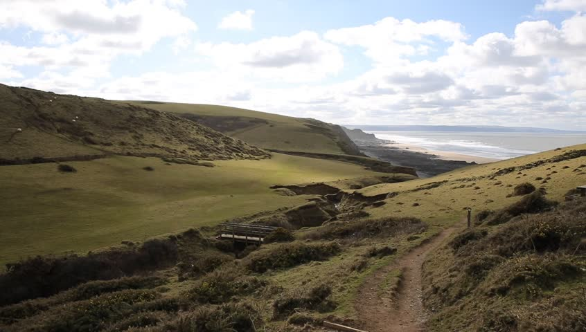 Sandymouth coast North Cornwall England UK on the south west coast path towards Bude - HD stock video clip