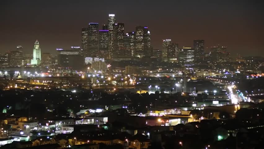 Night View of the City. City ??lights . Sun Over the Horizon Village . Begins in the Night Time. in the Streets and in the Houses Caught Fire Light. Big City in the Night. | Shutterstock HD Video #15271336