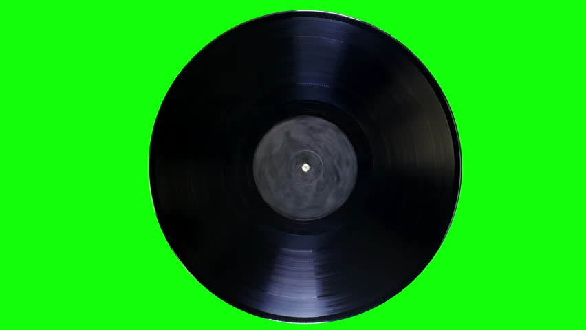 Vinyl Record is Rotating on a Green Screen