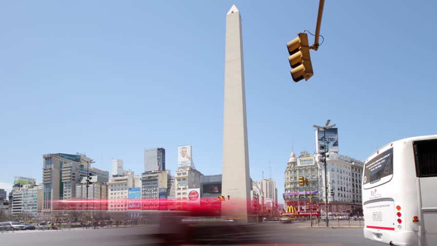 BUENOS AIRES - OCTOBER 14: (Timelapse View) The national landmark Obelisk at the intersection of 9th of July Av. and Corrientes Av. on October 14, 2011 in Buenos Aires, Argentina.