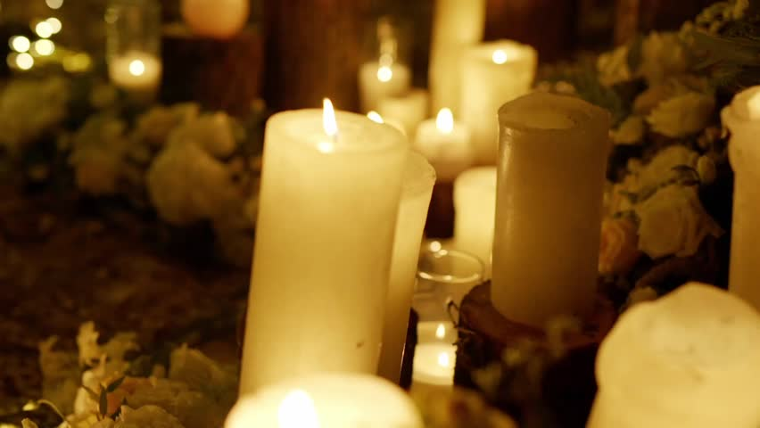 Candles, candy, flowers on the table | Shutterstock HD Video #15315895