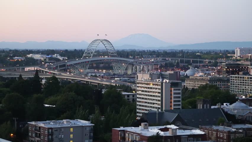 Portland, Oregon skyline at dusk / Portland, Oregon - USA., July, 2013 - HD stock video clip