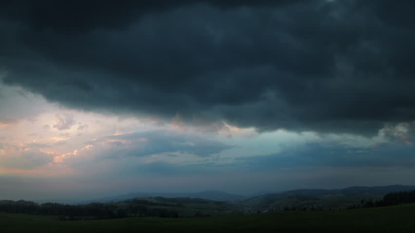 Evening thunderstorm - fantastic landscape video background. Impressive lightning in the evening storm sky. Several powerful flashes and lights. Canon 7d, HD 1080 25p Clip ID: thunderstorm2_HD