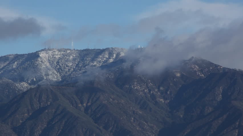El Nio (El Nino) Snow on the Mountains Behind Los Angeles