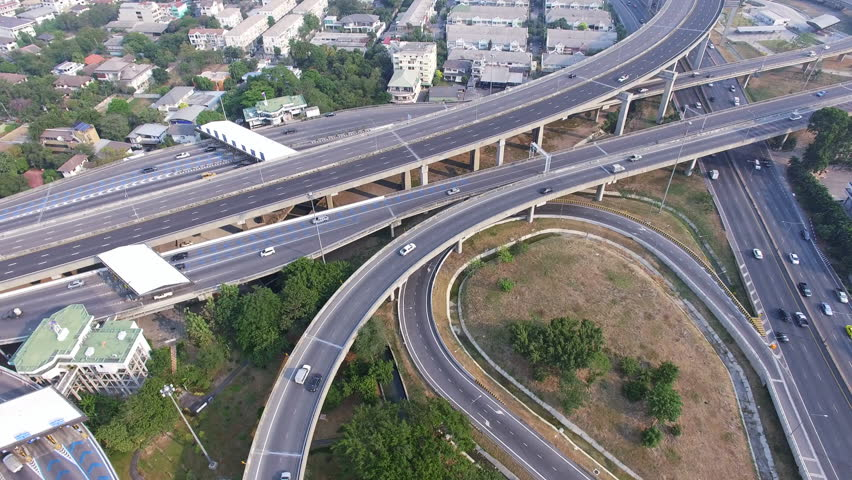 Aerial top view of Bangkok city, highway with car in city   Shutterstock HD Video #15402925
