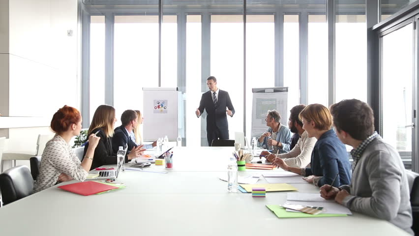 Business people applauding director during a meeting in conference room   Shutterstock HD Video #15414859