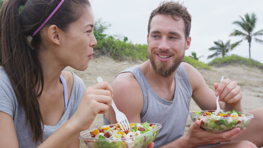 Salad - Healthy Fitness Woman And Man Couple Laughing ...
