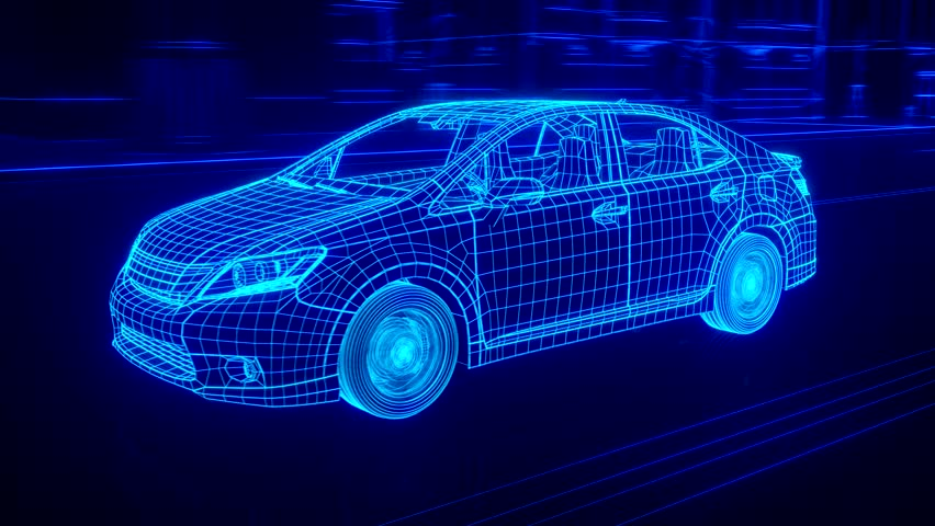 City car Wireframe View - conceptual | Shutterstock HD Video #15428881