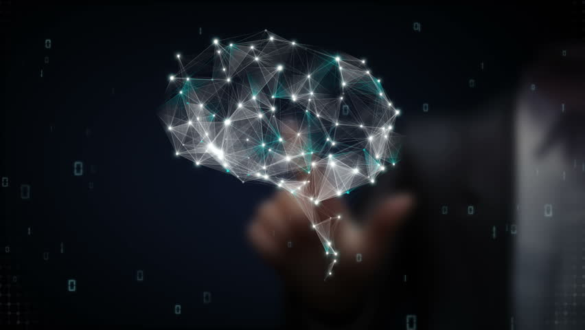 Businessman touching Brain connect digital lines, expanding artificial intelligence