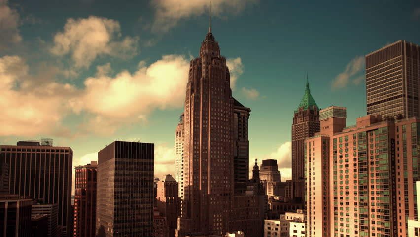 timelapse of financial district of the manhattan skyline from a high vantage point - HD stock video clip
