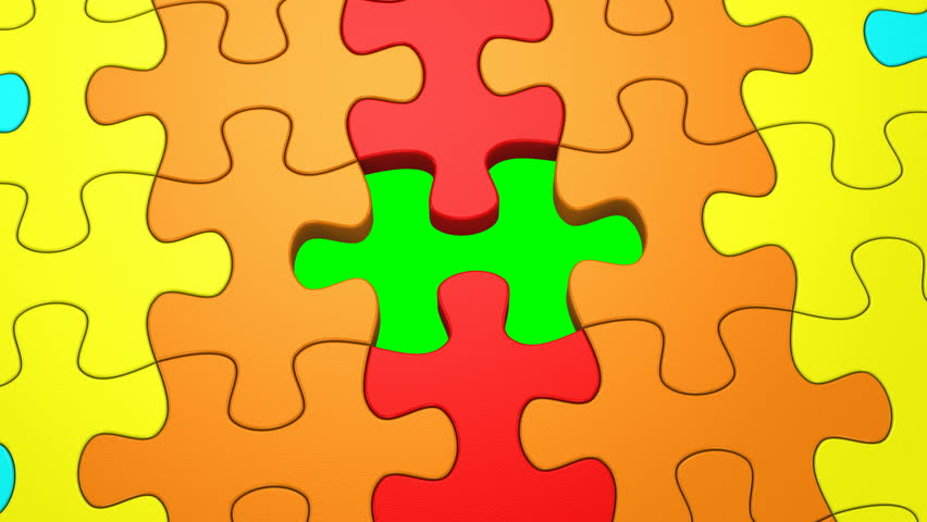 Final Puzzle Piece Falls Into Place, 3d Animation Stock ...