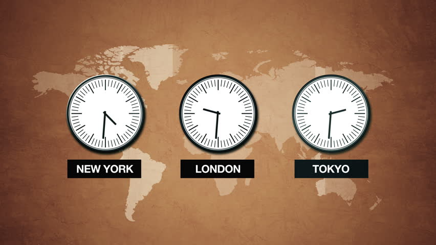 Wall Clocks Showing Different Time Zones Fly By Stock