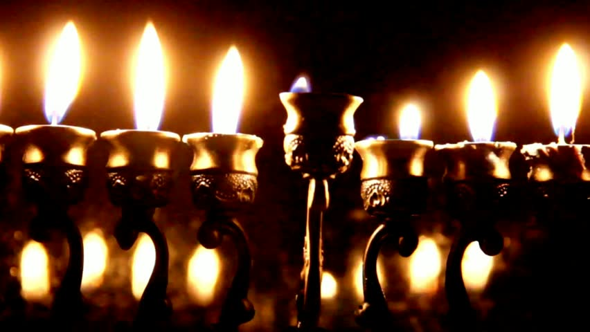 Hanukah candles celebrating the Jewish holiday - HD stock footage clip