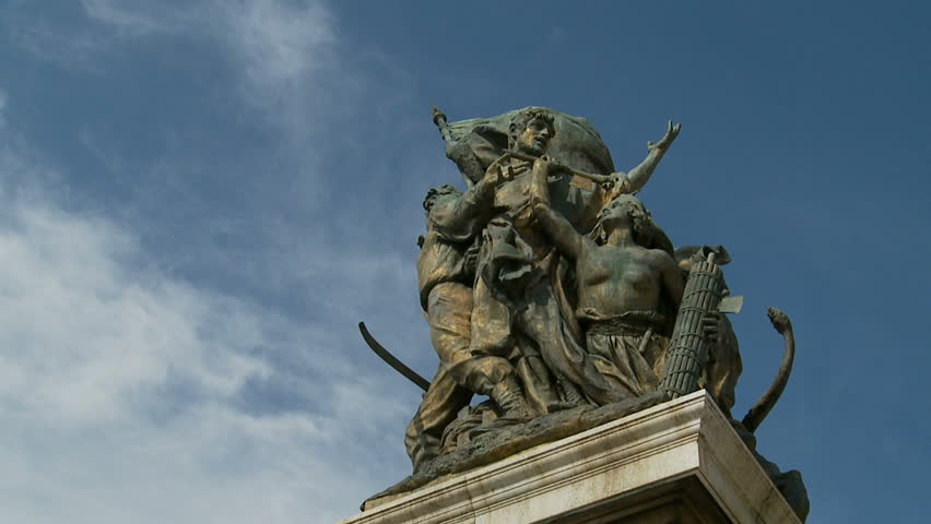 ROME, ITALY. AUGUST 16 2013. Statue At Vittorio Emanuele Ii In Roma (Slow Motion Dolly) - HD stock footage clip
