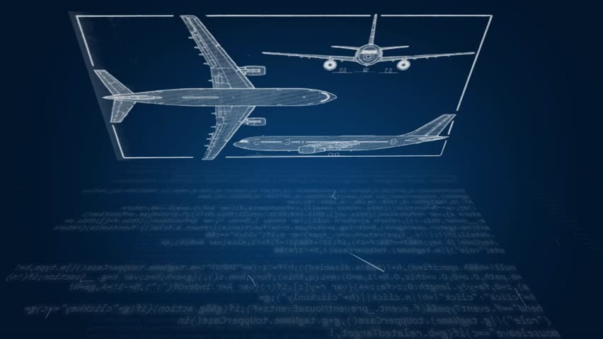 blueprint of an airplane - HD stock video clip