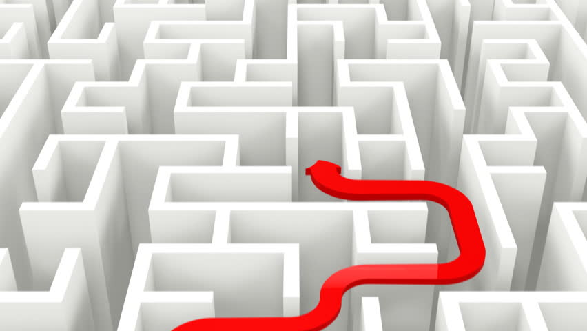 Red arrow moves in a labyrinth. Seamless loop.