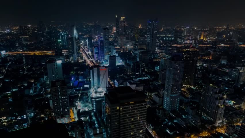 View of Chicago From Above. City at Night Time. Throughout the City Lights Burning. at the Bottom of the Roads Going Vehicles. | Shutterstock HD Video #15706486