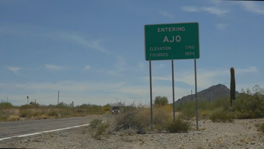 Town sign for Ajo, Arizona - HD stock footage clip